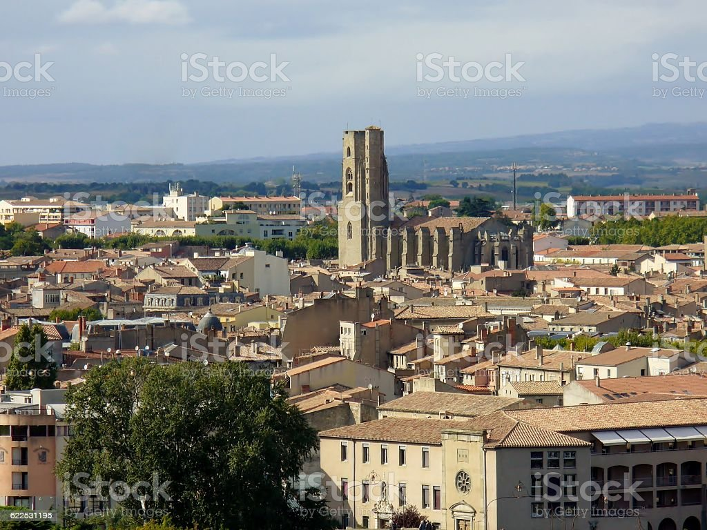 Carcassonne lower town, panorama. stock photo