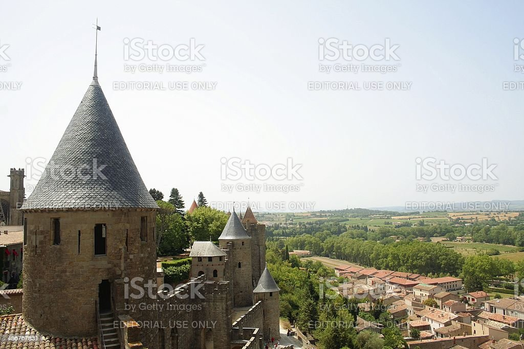 Carcassonne medieval citadel and new town Languedoc France stock photo