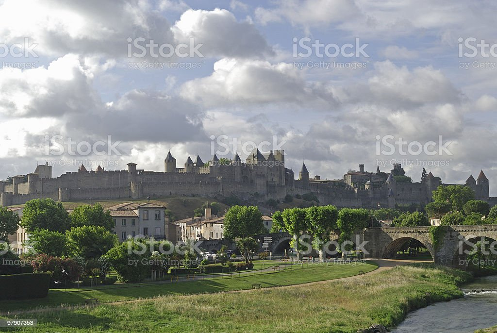 Carcassonne (France), medieval town and bridge stock photo