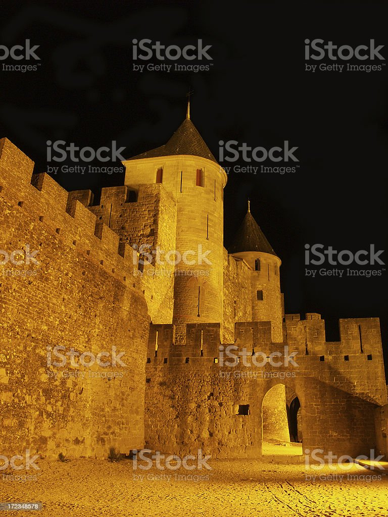 Carcassonne night royalty-free stock photo