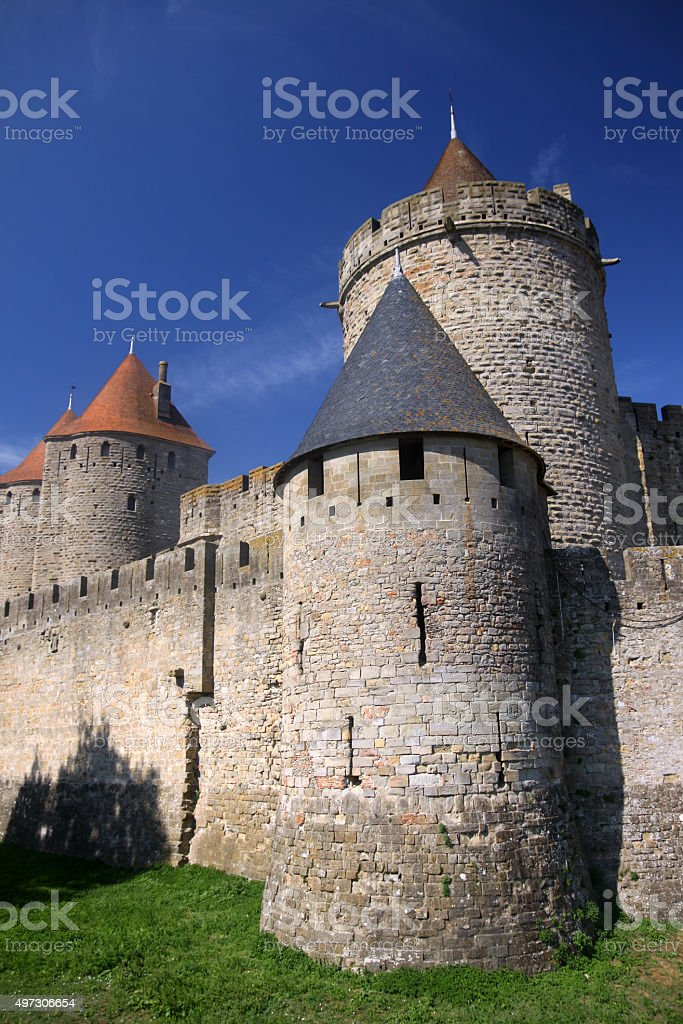 Carcassonne town walls stock photo
