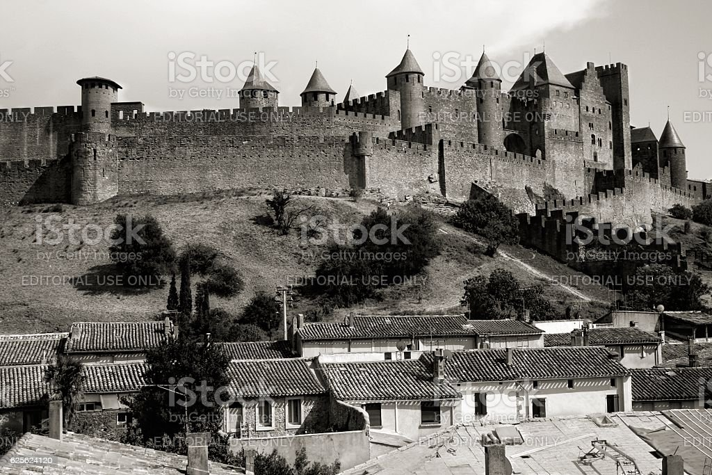 Carcassonne townscape Languedoc Roussillion medieval walled citadel Southern France stock photo