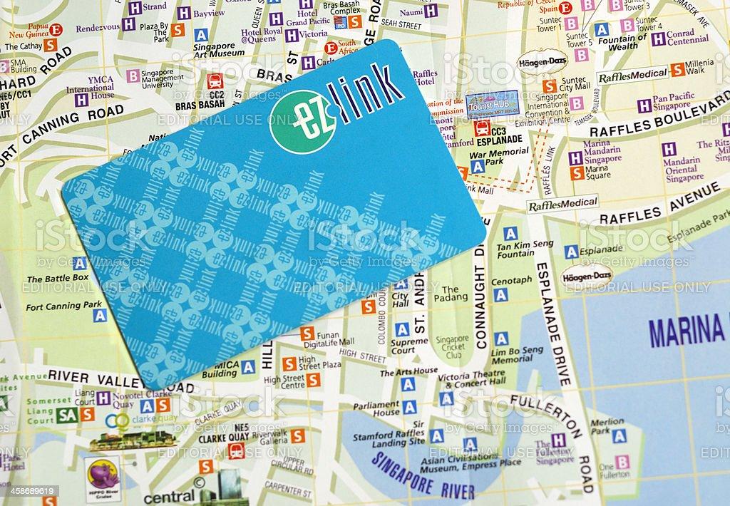 EZ-LINK Card and Street Plan, Singapore stock photo