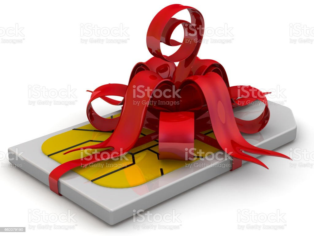 SIM card as a gift stock photo
