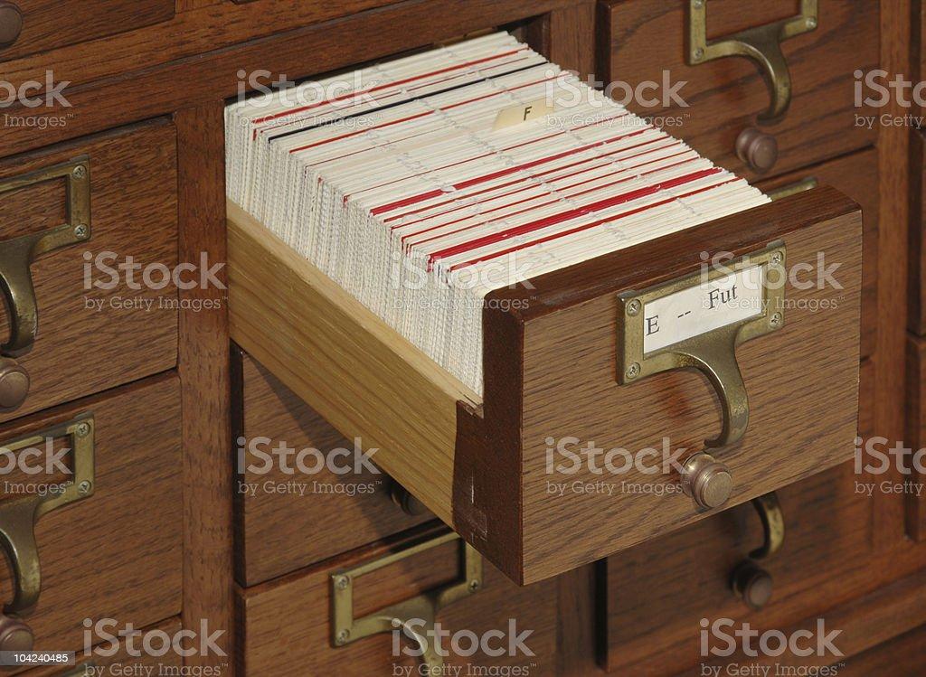 Card Catalog File Drawer stock photo