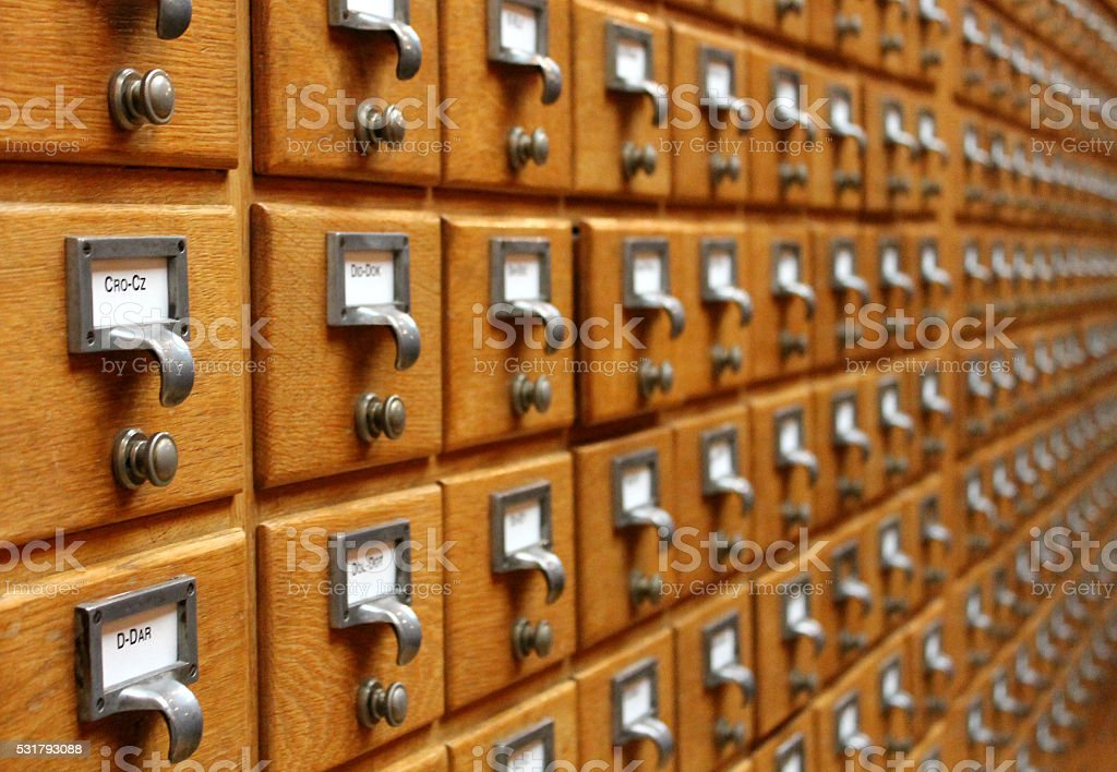 Card catalog files furniture stock photo