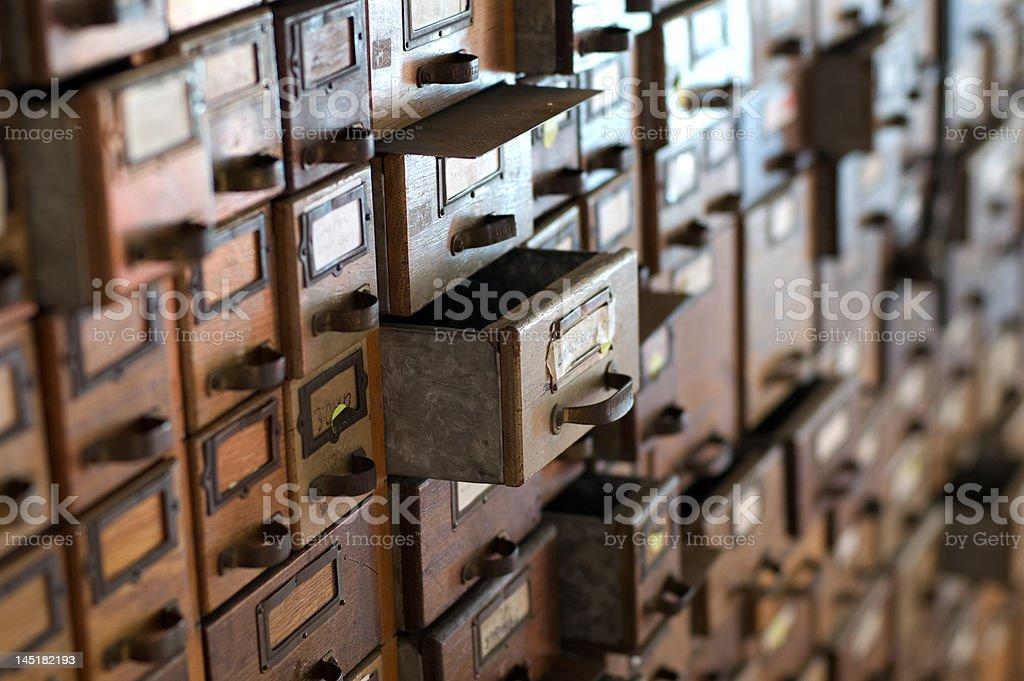 Card Catalog Wood File Cabinet stock photo