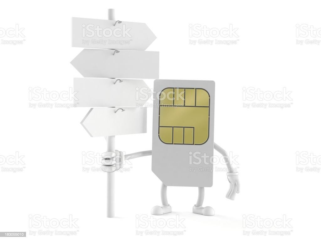SIM card character holds a white signpost royalty-free stock photo