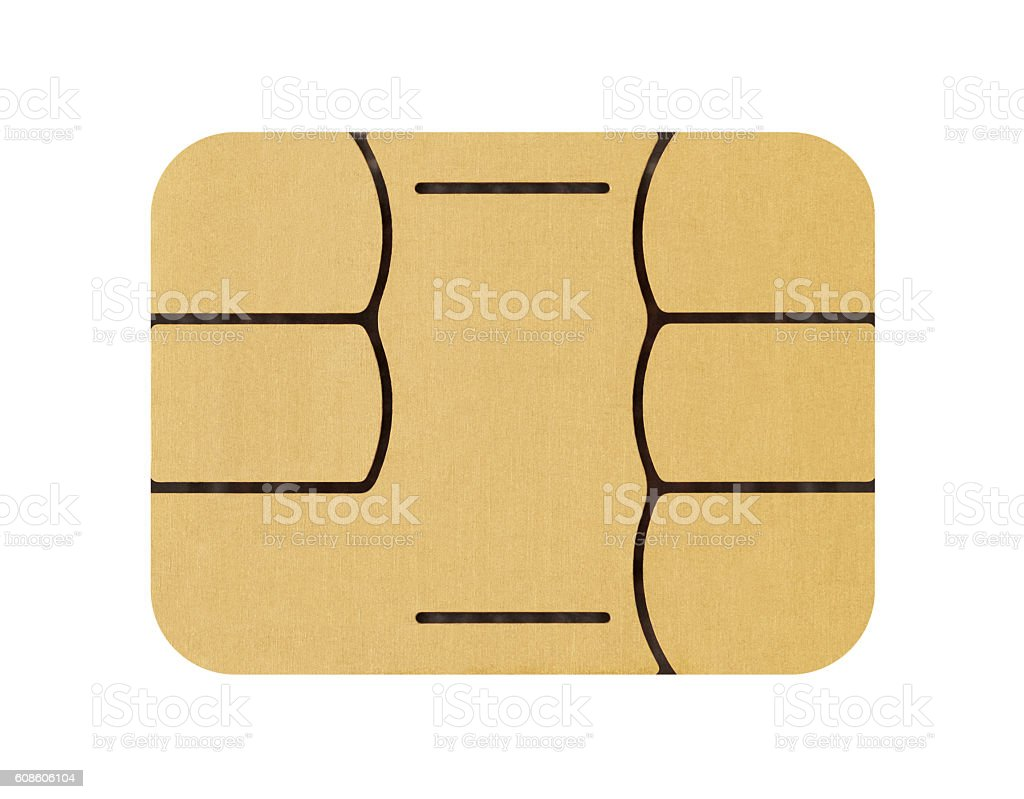 SIM card chip on a white background stock photo