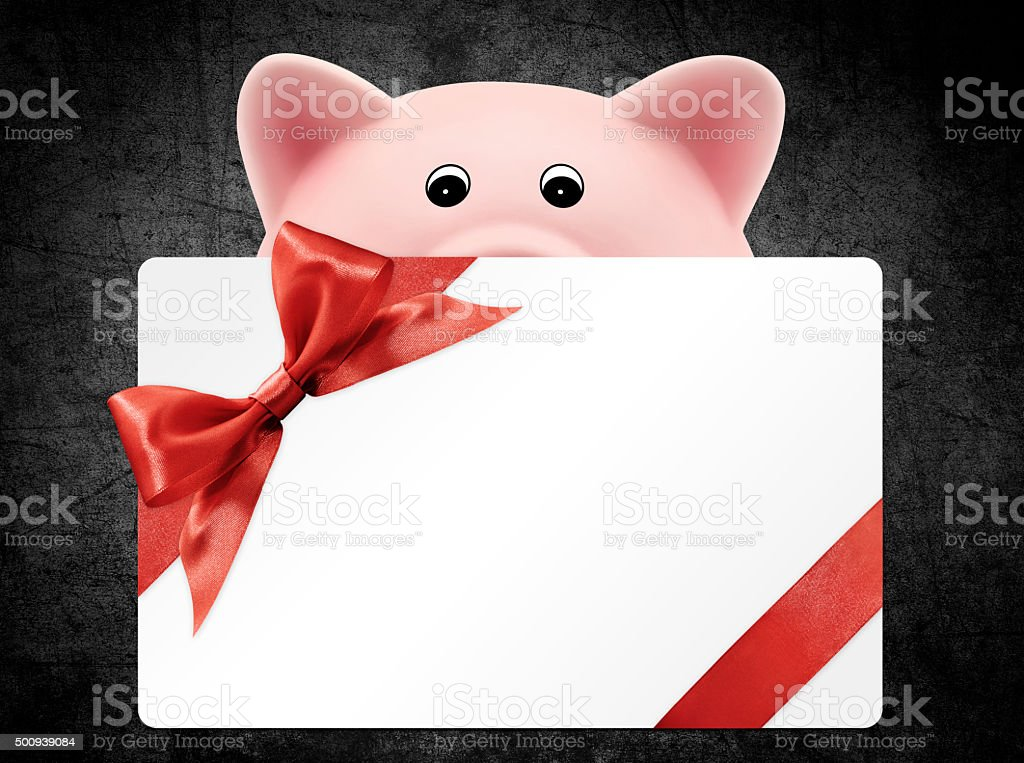 card gift with piggy bank, red ribbon bow, Isolated stock photo