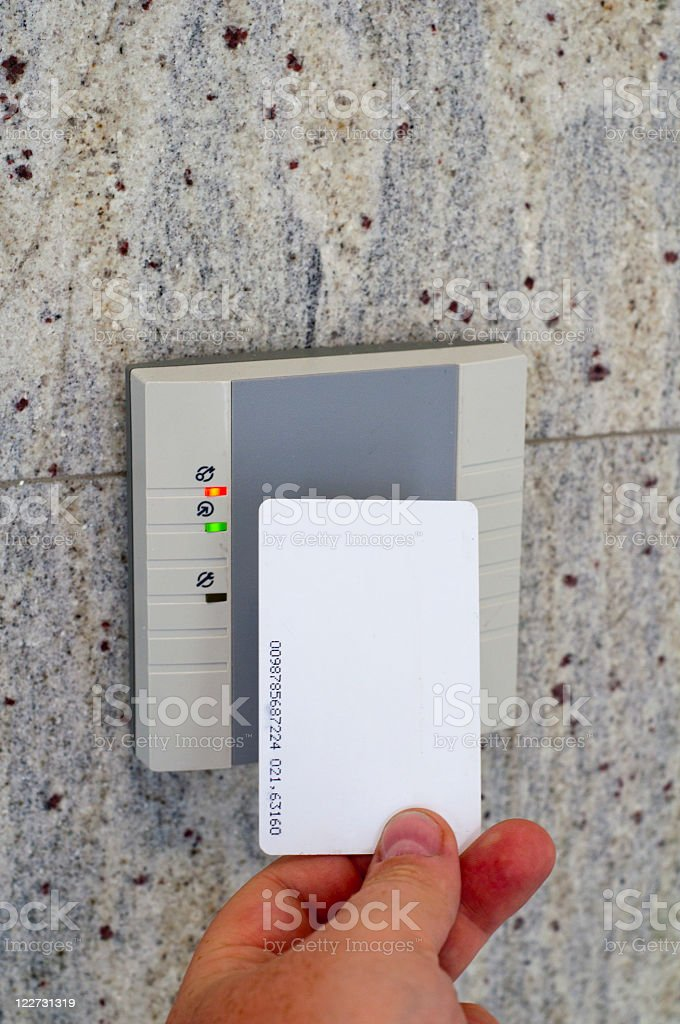 A card granting access into a building stock photo