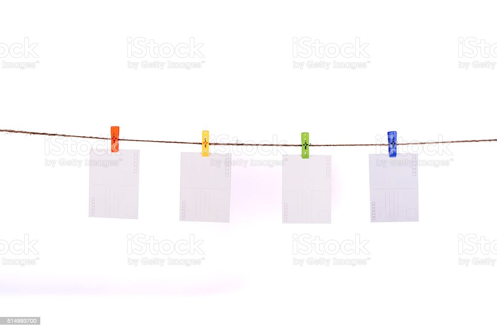 Card hanging on a clothesline stock photo