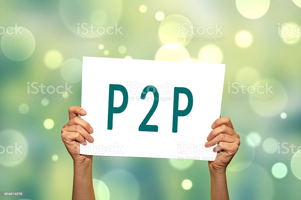 P2P (peer to peer) card in hand. stock photo