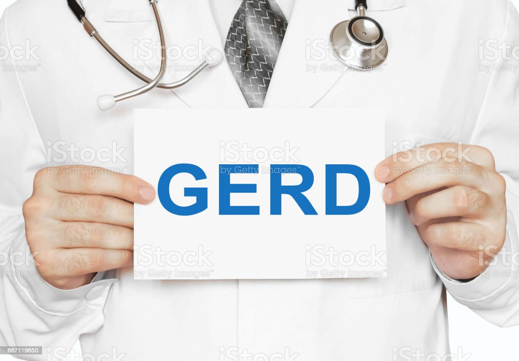 GERD card in hands of Medical Doctor stock photo