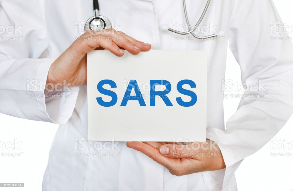 SARS card in hands of Medical Doctor stock photo