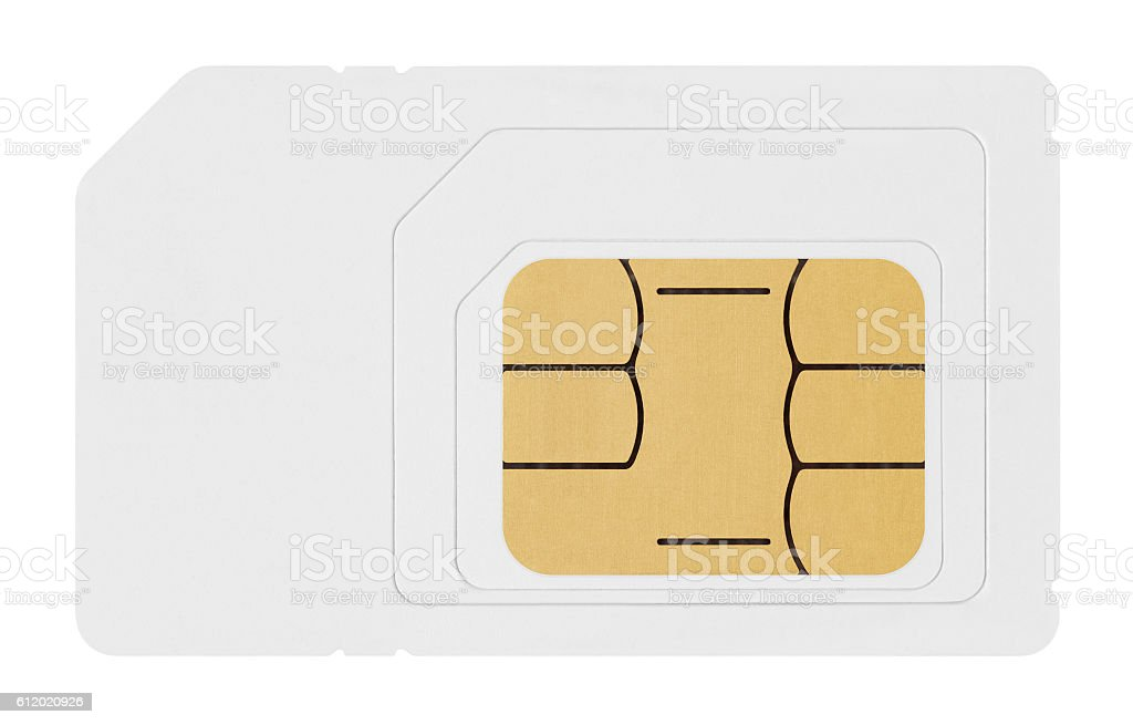 SIM card isolated on white background stock photo