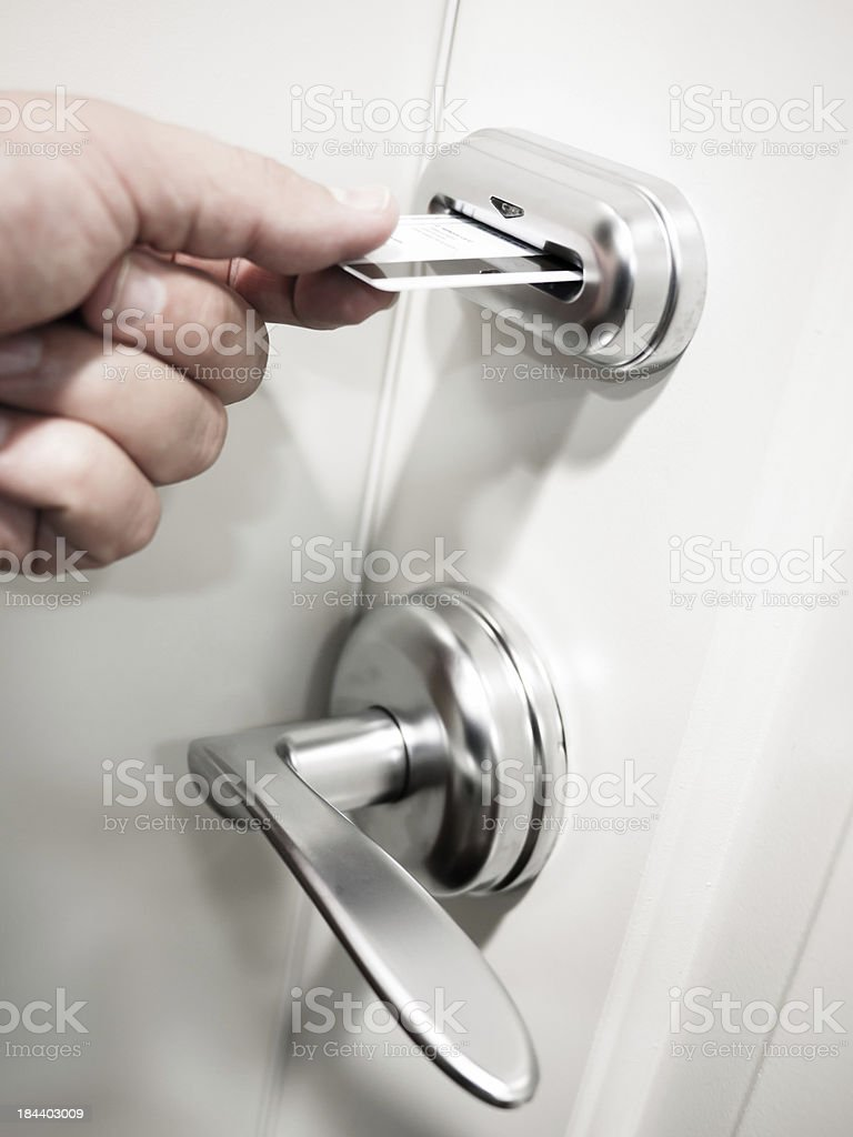 Card Key Electronic Door Lock Security royalty-free stock photo