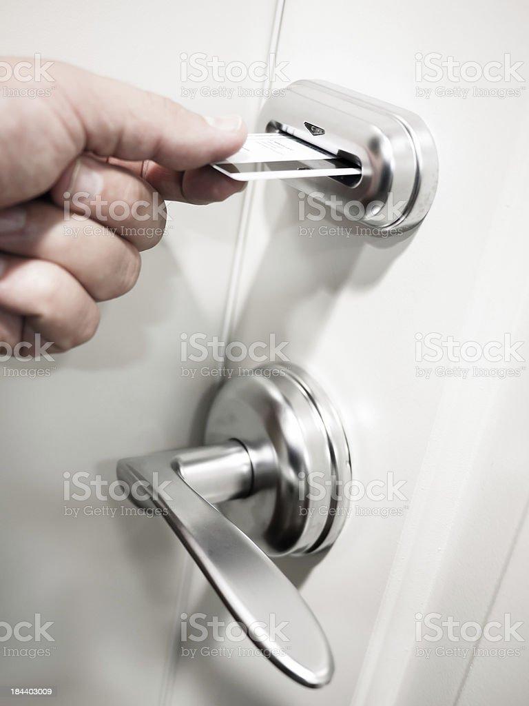 Card Key Electronic Door Lock Security stock photo