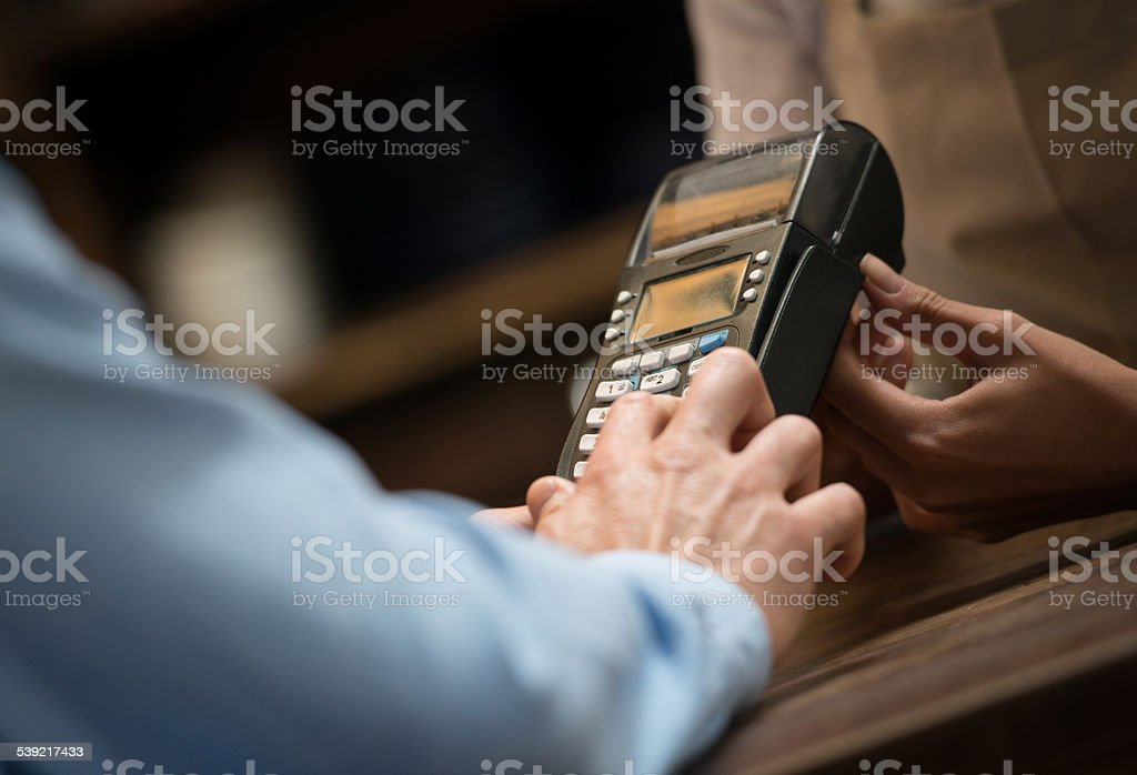 Card payment at a cafe stock photo
