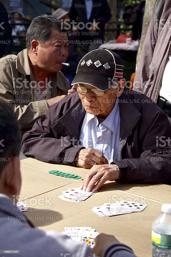 Card players in Columbus Park, China Town, NYC royalty-free stock photo
