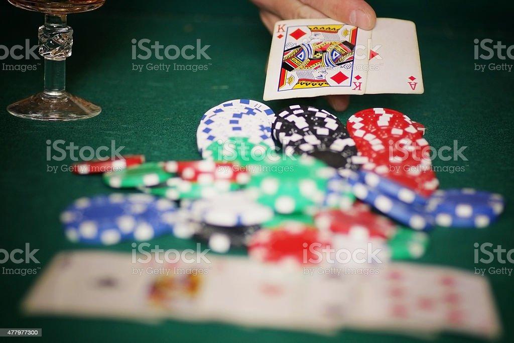 card poker casino chips stock photo