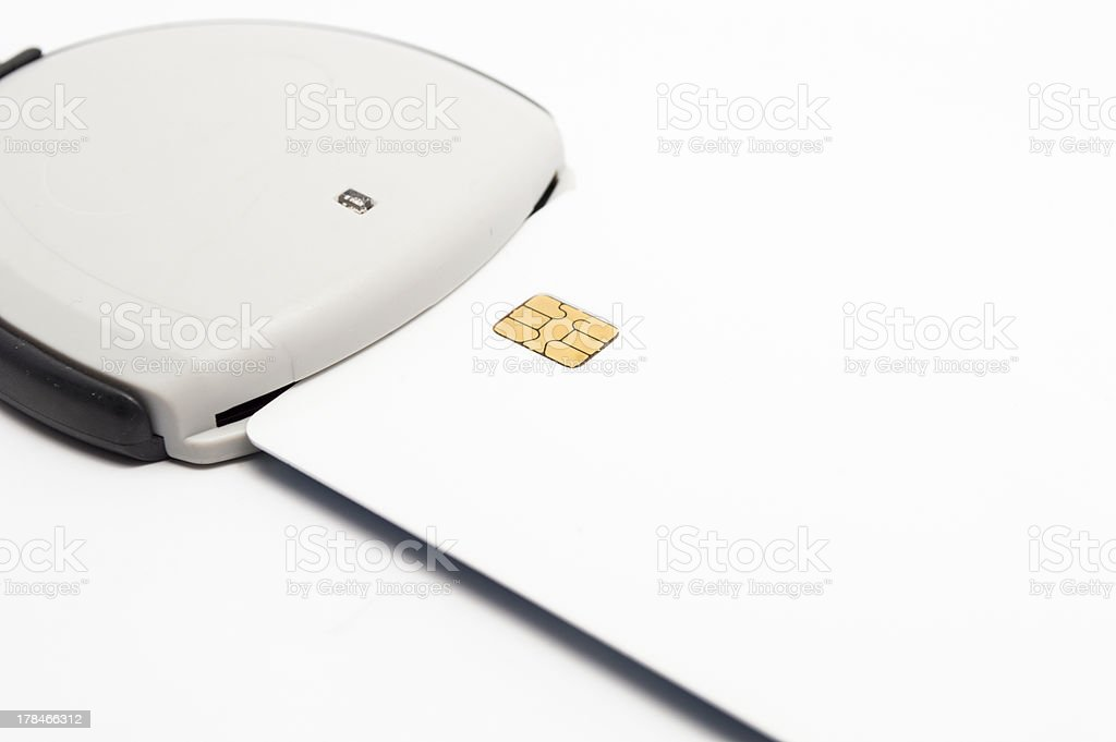 USB card reader for shopping and red tape online royalty-free stock photo