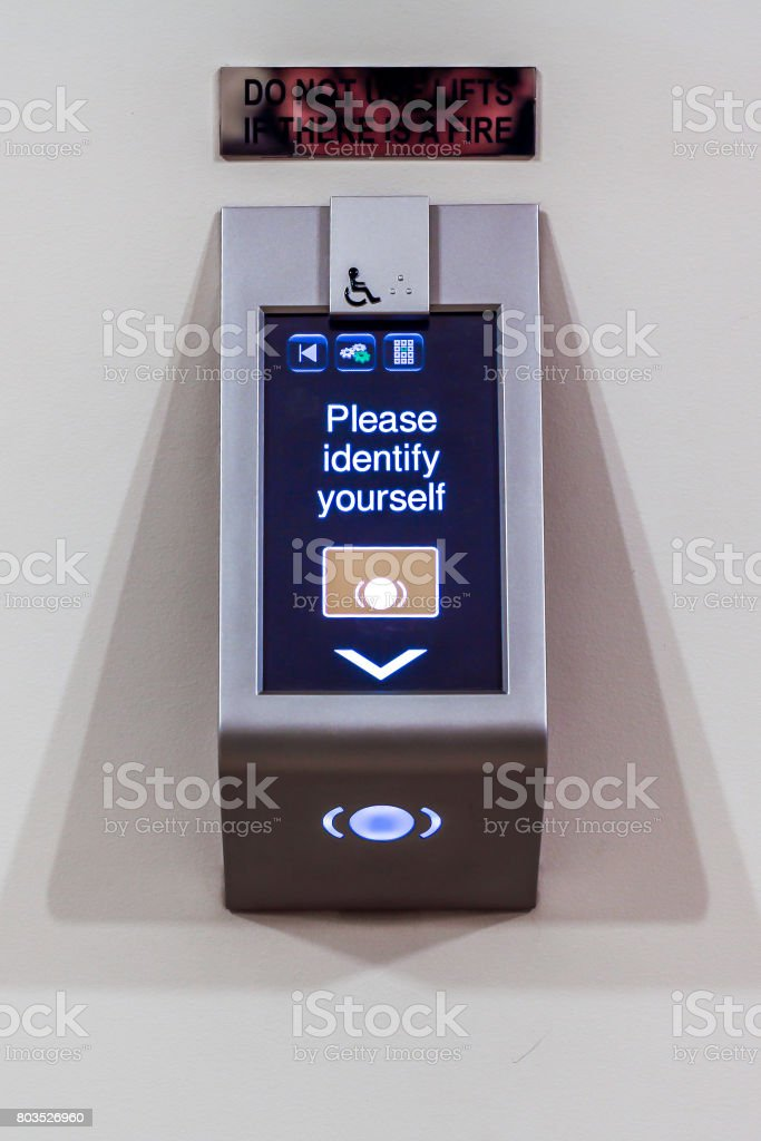 Card Scanner for lift access stock photo
