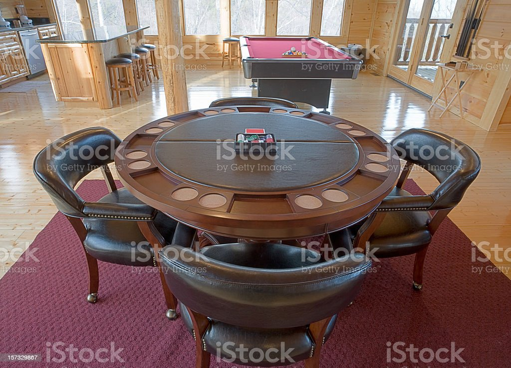 Card table in the game room stock photo