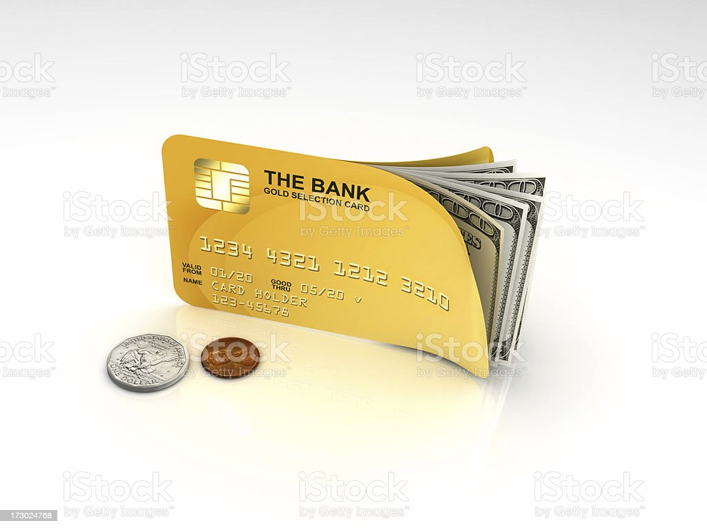Card wallet with cash and coins stock photo