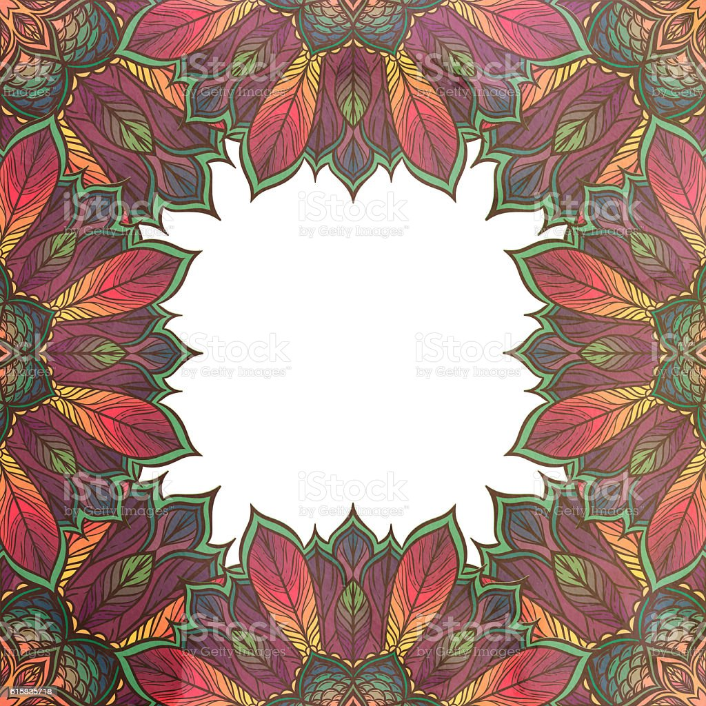 Card with floral ornament. Frame stock photo