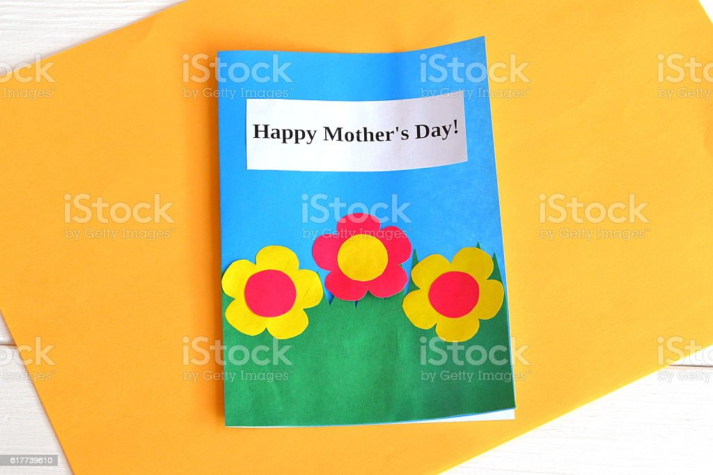 Card with flowers and words Happy mother's day stock photo