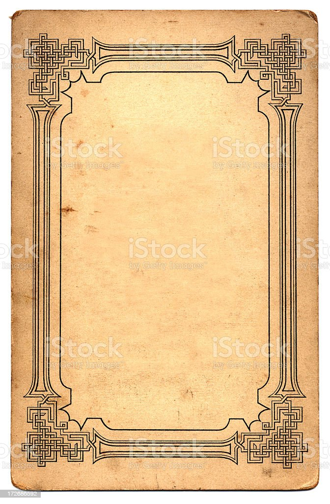 Card with geometric border stock photo