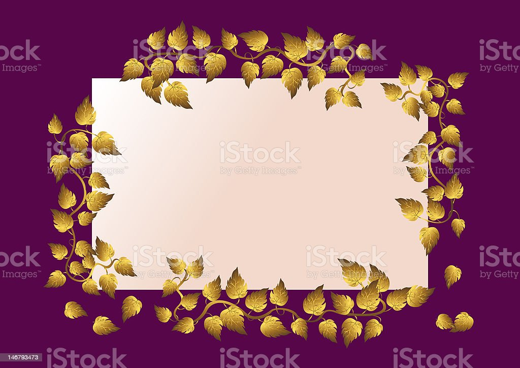 Card with golden leaves. royalty-free stock photo