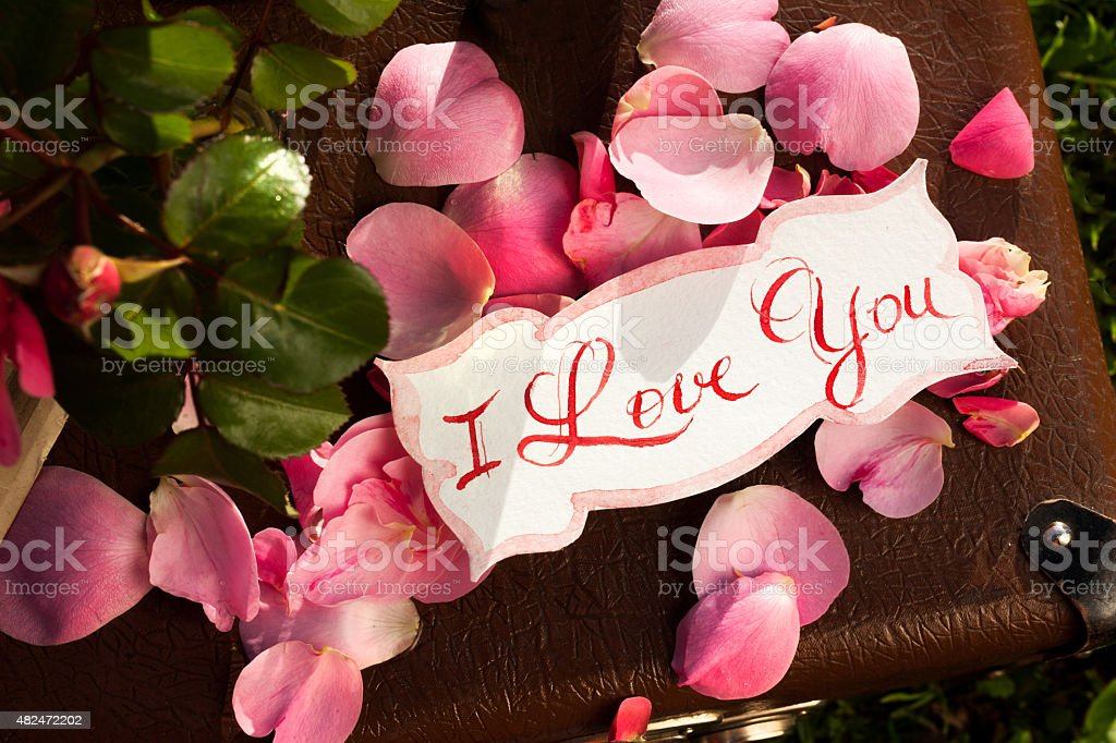 Card with Message 'Love You' handwritten and pink french roses stock photo