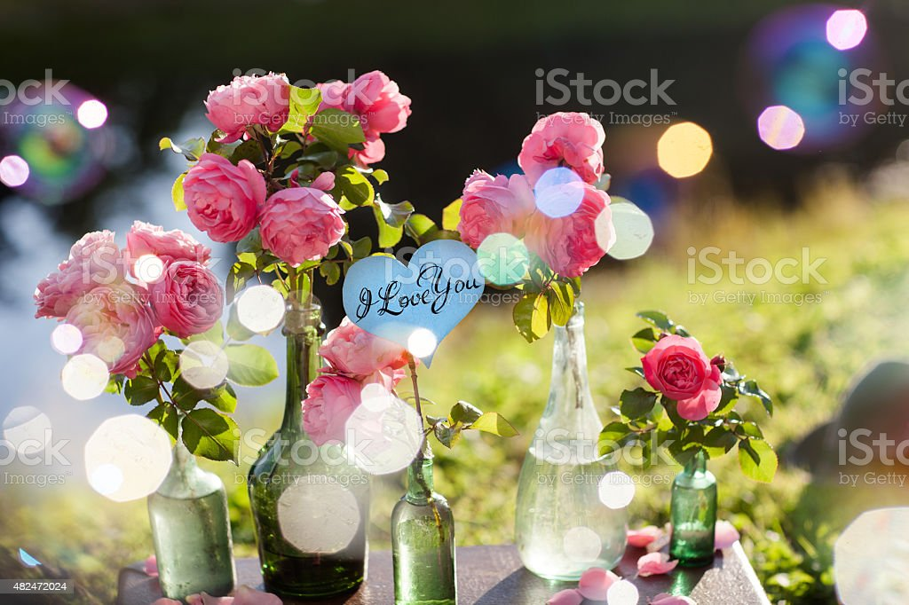 Card with Message 'Love You' handwritten stock photo