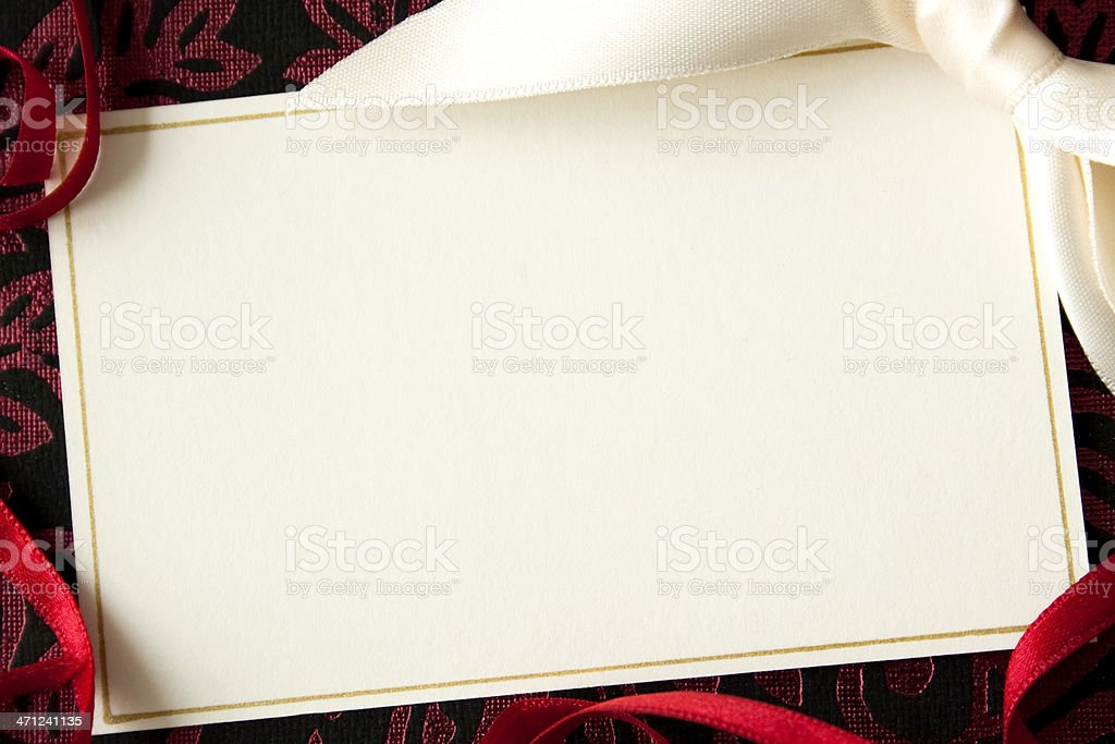 Card with ribbons. royalty-free stock photo