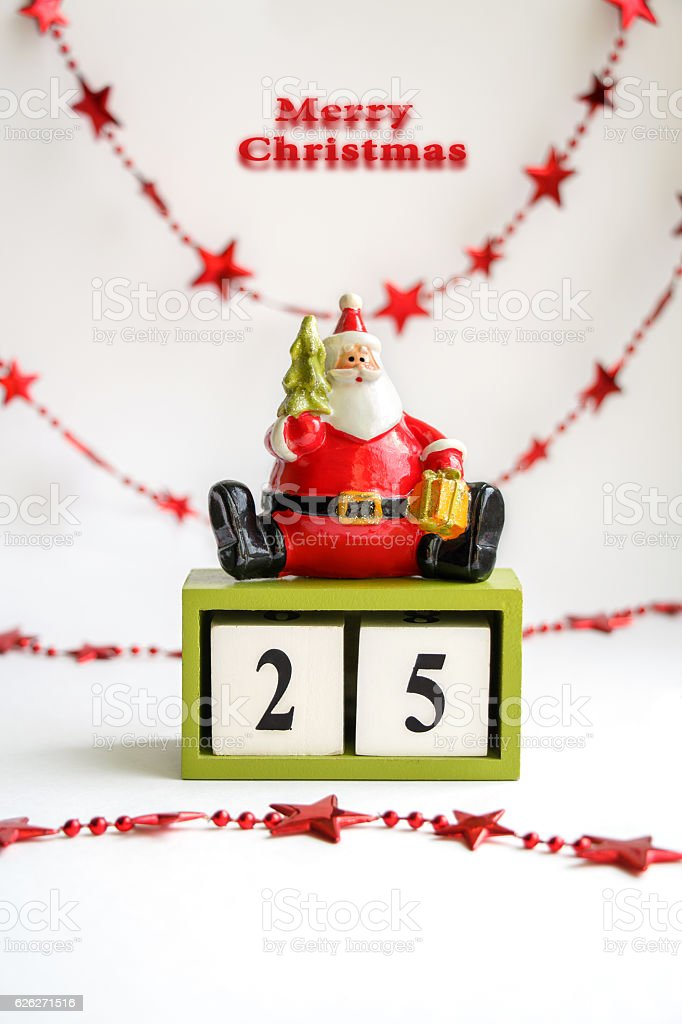 Card with Santa Claus, Merry Christmas, date 25 of December. stock photo