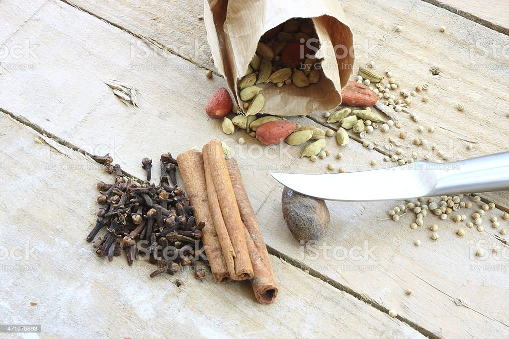 Cardamom and other spices royalty-free stock photo
