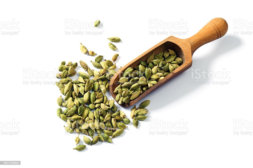Cardamom, Isolated on White stock photo