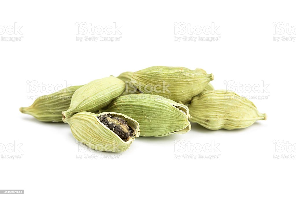cardamom on white background stock photo
