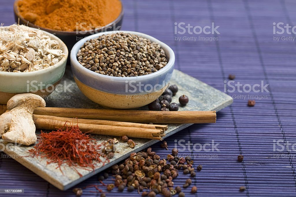 Cardamom seeds, and other spices stock photo