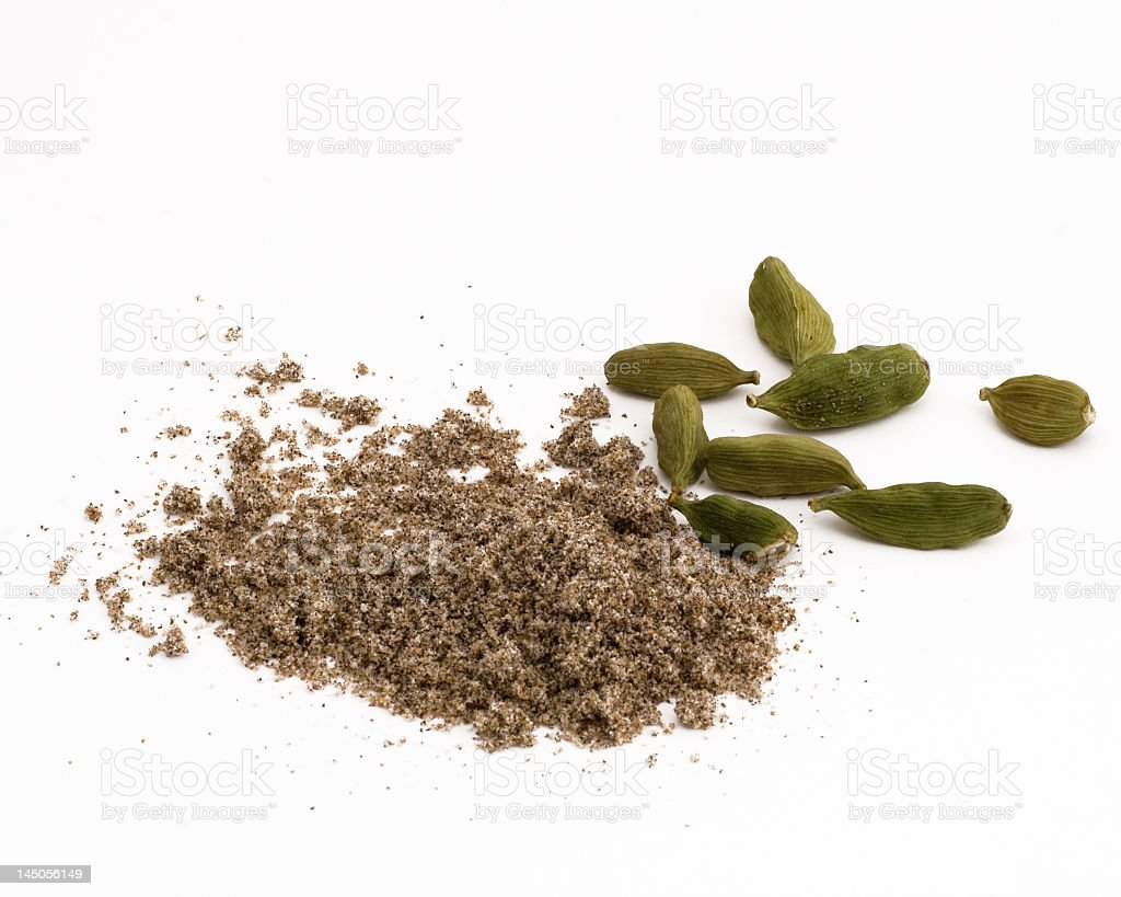 Cardamom spice on a white background stock photo