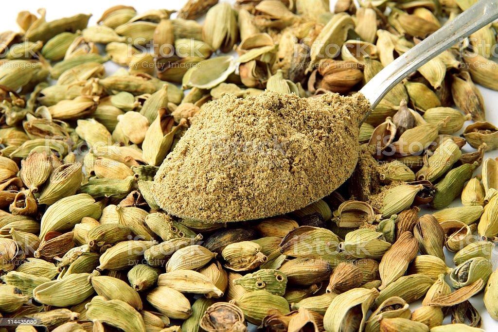 cardamon seeds and powder royalty-free stock photo
