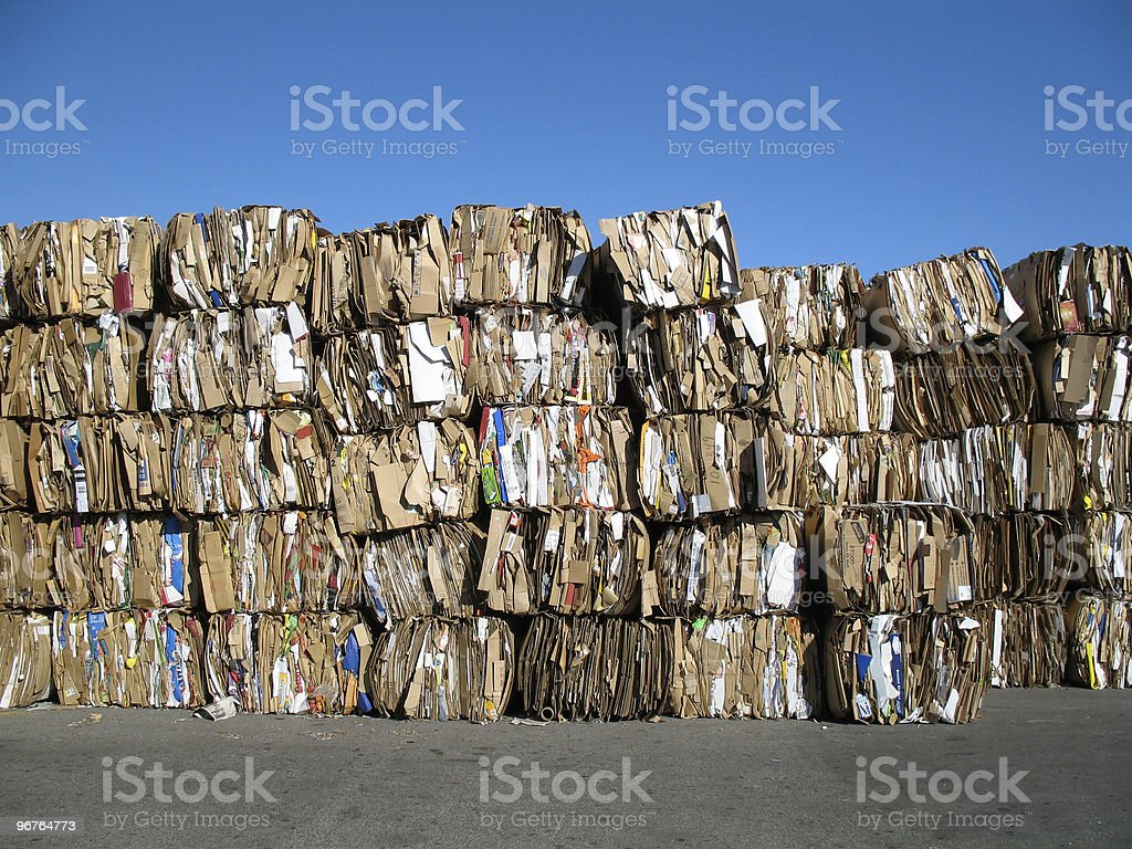 Cardboard, and tons of it stock photo