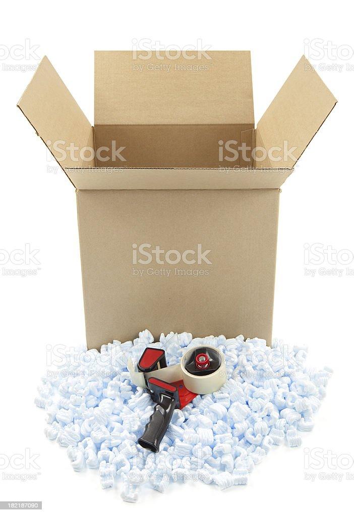 Cardboard Box and Shipping Peanuts royalty-free stock photo