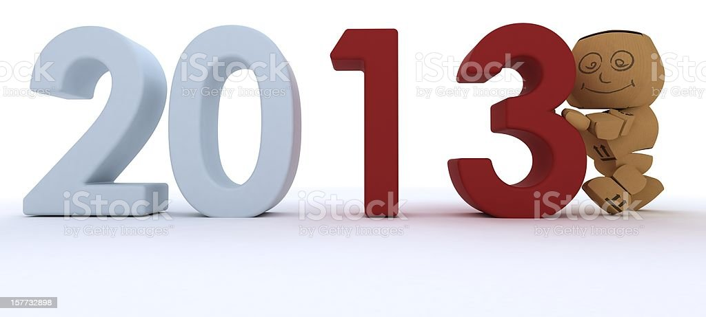 Cardboard Box bringing in the new year royalty-free stock photo