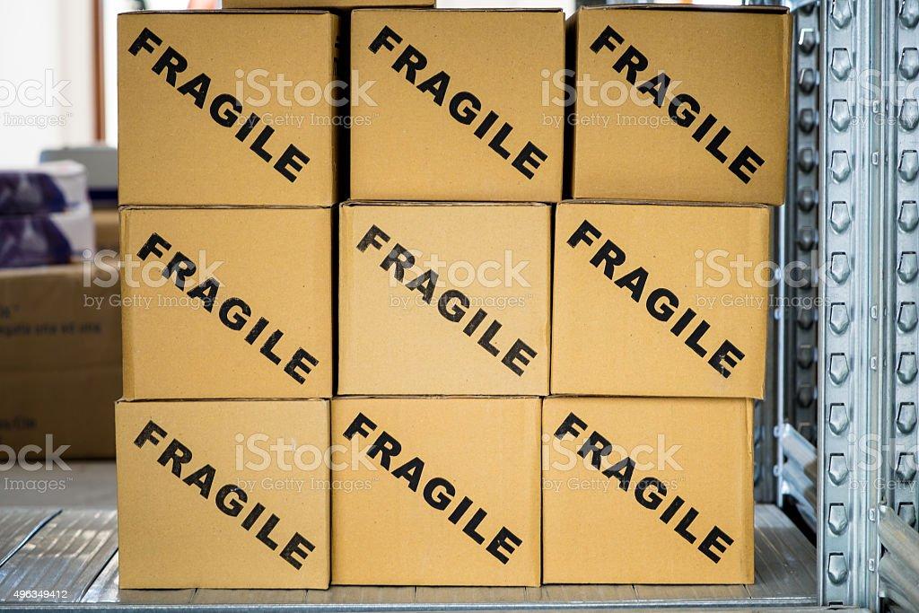 Cardboard Box - Fragile stock photo