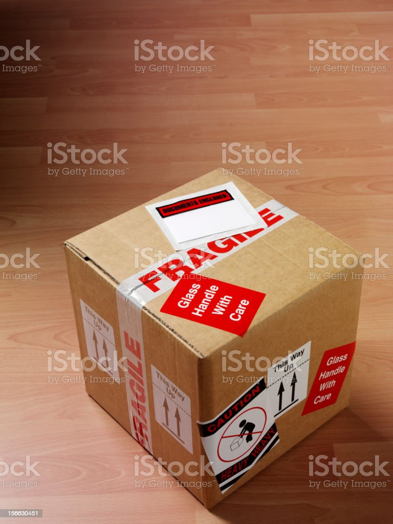 Cardboard box packaged with all care.