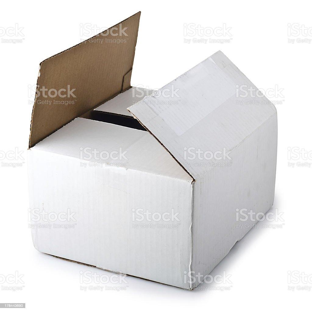 Cardboard box isolated on white background royalty-free stock photo