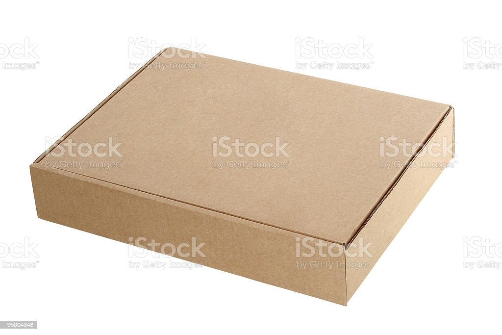 Cardboard box, isolated on white background stock photo